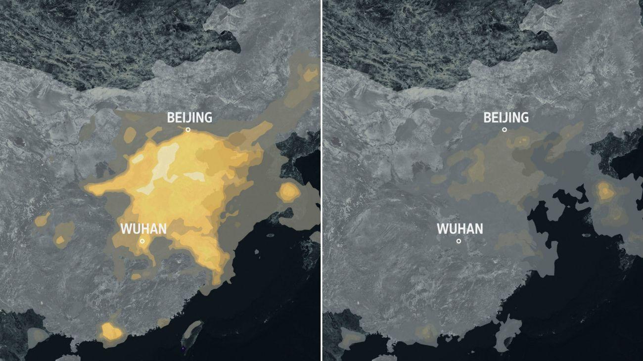 Contaminación del aire en China antes (izq.) y durante (der.) el confinamiento por la pandemia.