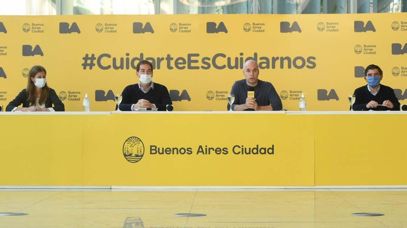 Rodriguez Larreta y sus funcionarios con barbijos