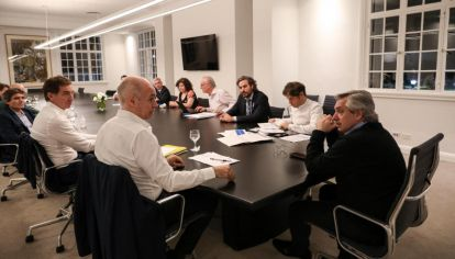 Nación, Provincia y Ciudad. El presidente Alberto Fernández recibió al gobernador bonaerense, Axel Kicillof, y al jefe de Gobierno porteño, Horacio Rodríguez Larreta.
