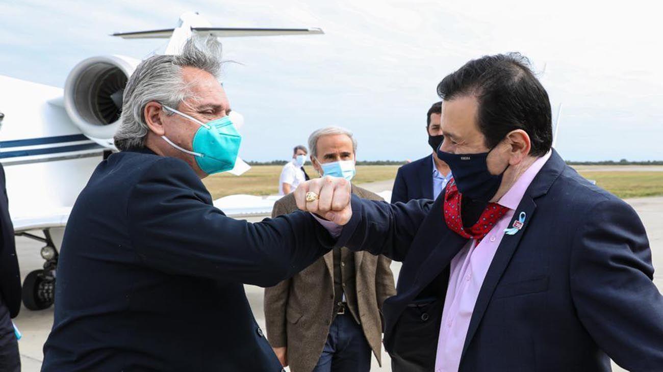 El presidente Alberto Fernández en Santiago del Estero con gobernador Gerardo Zamora.