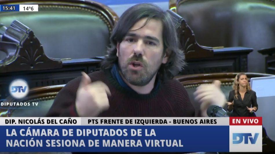 Nicolás del Caño, en la sesión de Diputados de este jueves 21 de mayo.