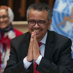 El Director General, Tedros Adhanom Ghebreyesus, asistió a la 147ª sesión del Consejo Ejecutivo de la OMS, celebrada virtualmente por videoconferencia, en medio de la pandemia COVID-19, causada por el nuevo coronavirus. (Foto de Christopher Black / Organización Mundial de la Salud / AFP) | Foto:AFP