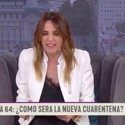 Verónica Lozano imitando a Nicolás Wiñazki en su programa de Telefe.   Foto:Cedoc.