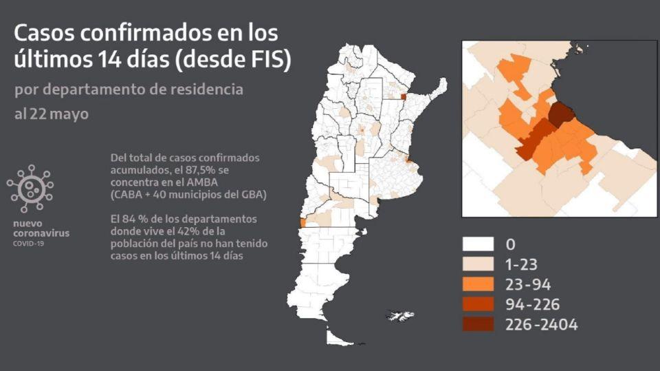 Mapa de la distribución geográfica del coronavirus presentado por Alberto Fernández.