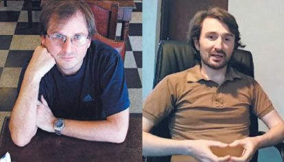 Discusión. A izquierda el escritor Martín Kohan, y a derecha Jorge Gemetto, psicólogo argentino miembro de Creative Commons.