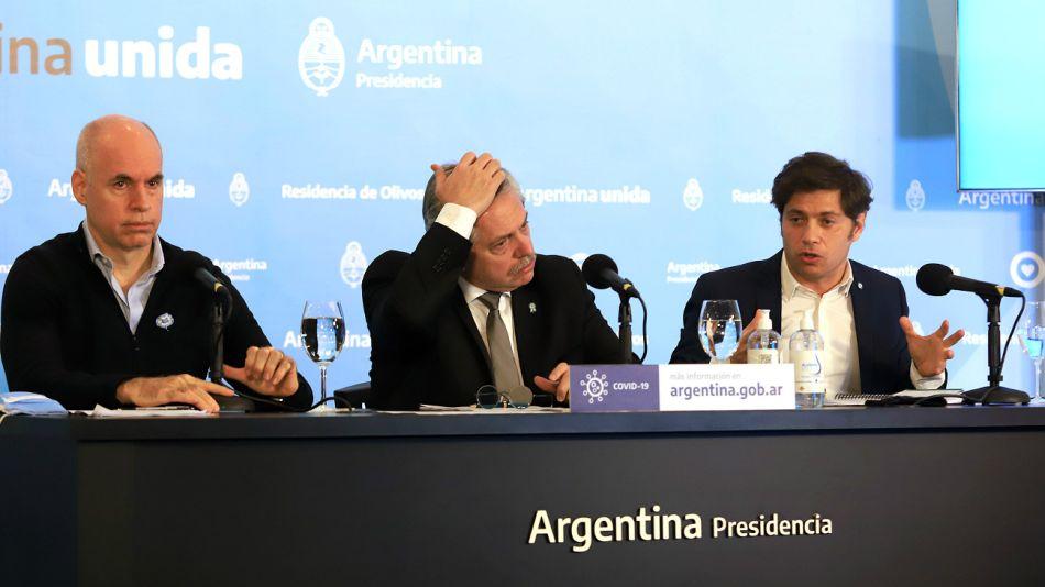 Alberto, Larreta y Kicillof, en el anuncio de extensión de cuarentena hecho este sábado 23 de mayo.