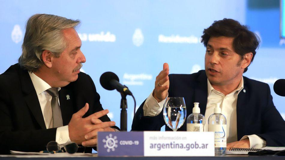Alberto Fernández, presidente de la Nación, junto a Axel Kicillof, gobernador bonaerense.
