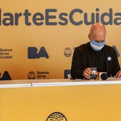 Horacio Larreta y colaboradores dan una conferencia de prensa en la sede del gobierno porteño, para comunicar detalles sobre la evolución de la pandemia. | Foto:Juan Ferrari