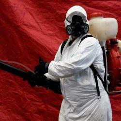 Un trabajador de limpieza con equipo de protección personal (PPE) desinfecta el mercado de Jamaica en la Ciudad de México, el 23 de mayo de 2020 durante la nueva pandemia de coronavirus COVID-19. - La pandemia ha matado al menos a 338.128 personas en todo el mundo desde que surgió en China a fines del año pasado, según un recuento de AFP a las 1100 GMT del sábado, según fuentes oficiales. (Foto por Alfredo ESTRELLA / AFP) | Foto:AFP