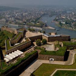 La fortaleza de Ehrenbreitstein, erigida en las alturas con vistas al Rin y al Mosela, es la principal construcción del complejo de fortificaciones de Coblenza. Foto: Thomas Frey, dpa.