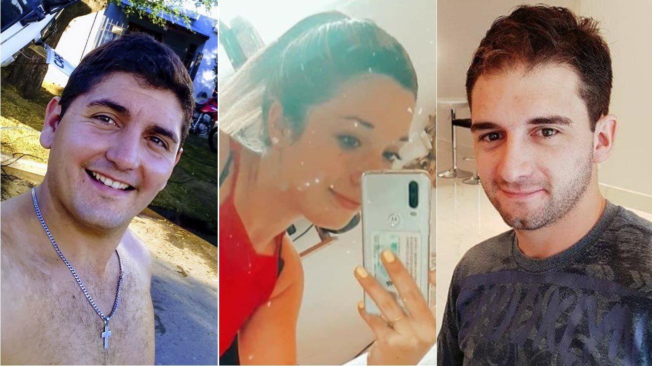 Boris Lulich (izq.), su hermano Felipe (der.) y su novia Brenda Rojas (centro)
