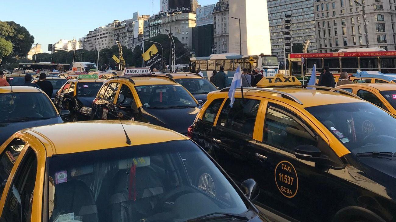 Protesta de taxistas en Buenos Aires.