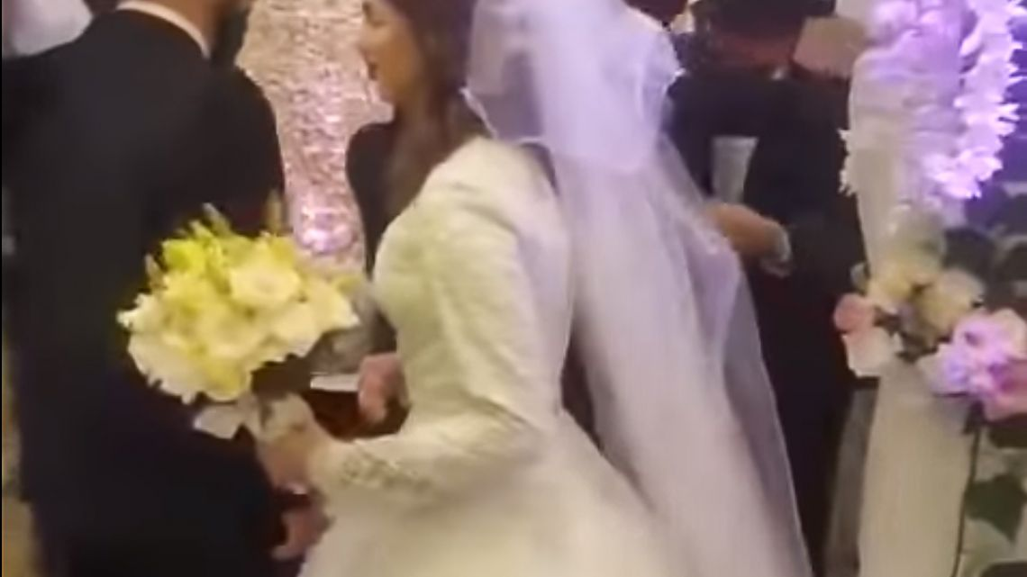 This image, allegedly taken from video at one of the weddings, circulated on social media on Monday.