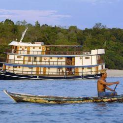 El itinerario de 15 días por tierra y crucero a bordo del Amazon Dream explora las áreas menos visitadas y más pintorescas del Amazonas entre Santarem y Belem.
