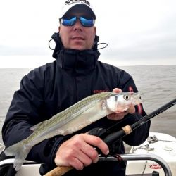 Pescador con reel huevito.