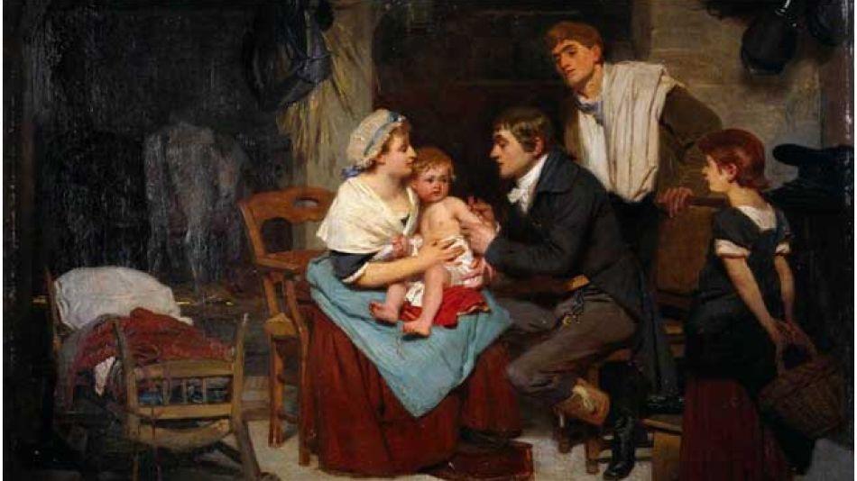 Edward Jenner vacunando a un niño (1884), ólero sobre lienzo de Eugene Ernest Hillemacher