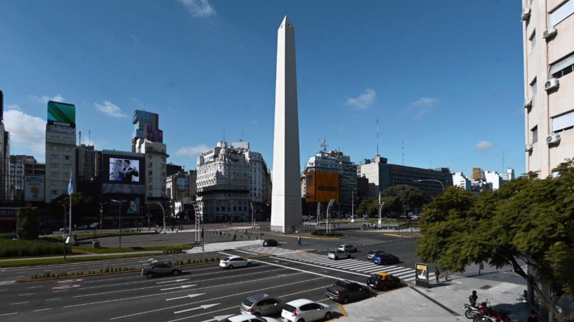 View of the Obelisk during the lockdown imposed by the government against the spread of the new coronavirus, Covid-19, in Buenos Aires, on May 26, 2020.