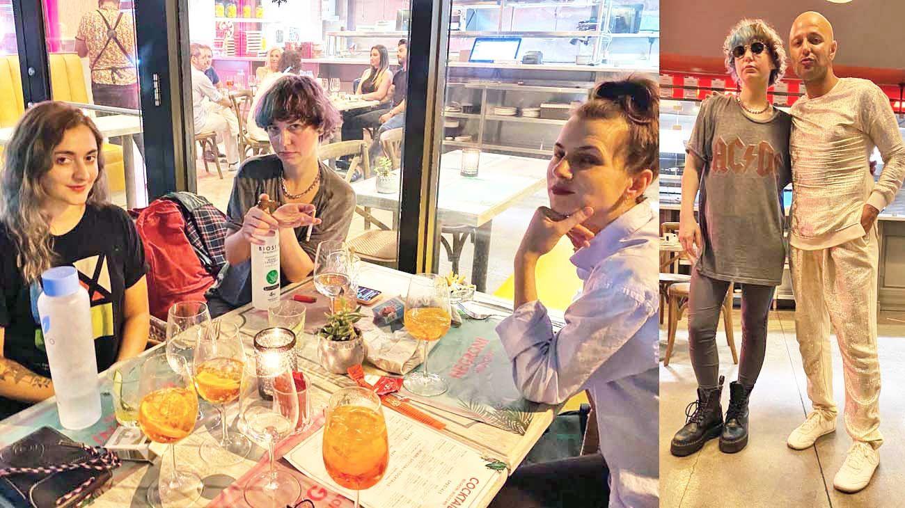 Postales. Florencia junto a sus amigas en un restó de Miami (izq.). Y con su amigo Gaby Álvarez también en ese lugar (der.).