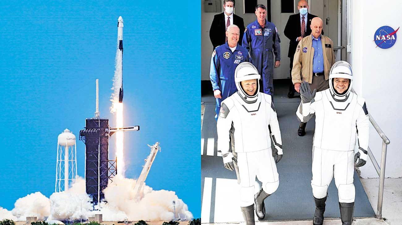 Cabo cañaveral. Los dos astronautas, Behnken y Hurley.