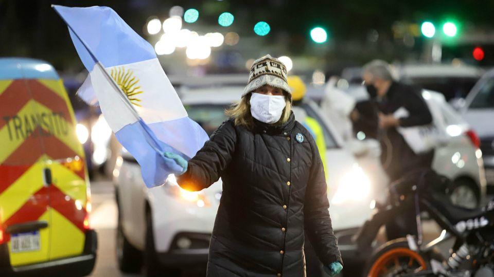 Protestas en el Obelisco de movimientos anti-cuarentena.