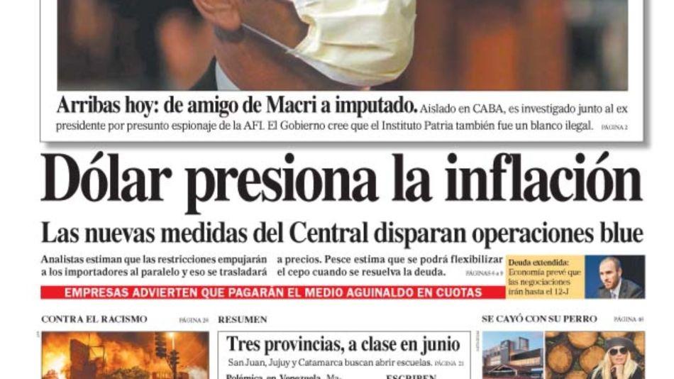 La tapa del sábado 30 de mayo del Diario Perfil.