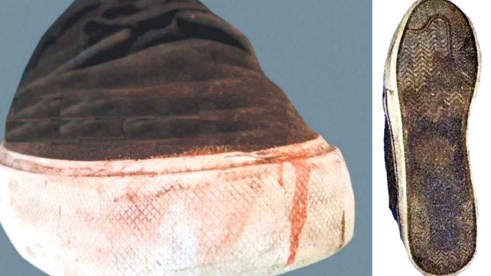 Prueba. El calzado con manchas de sangre que fue hallado en la casa que alquilaban los rugbiers.