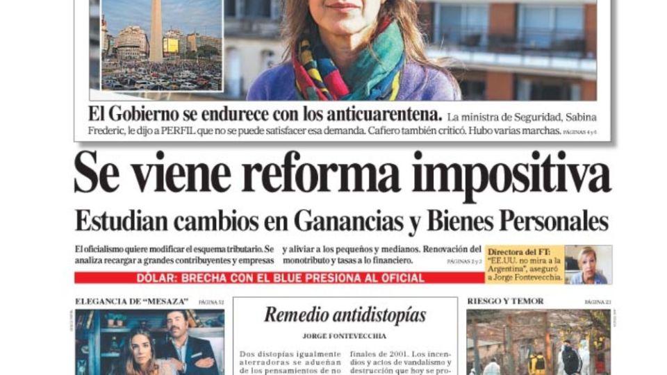 La tapa del diario PERFIL.