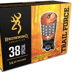 """lo nuevo, los Browning """"Trail Force"""" . 38 Spl agregan dos discos de plomo cobreado para aumentar su efectividad."""