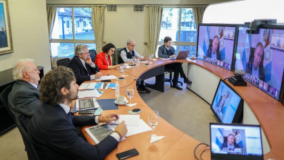 Alberto Fernández en videoconferencia