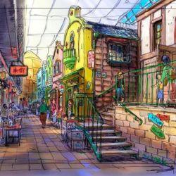 Son bocetos, artes conceptuales de lo que será el parque temático de estudio Ghibli en Japón.