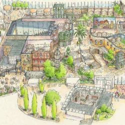 Boceto de cómo serían las cinco área del Ghibli Park que se inaugurará en la ciudad japonesa de Nagoya en 2022.