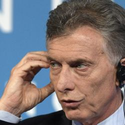 In this photo taken on December 1, 2018, then-president Mauricio Macri listens to a journalist's question during the final press conference, on the second day of the G20 Leaders' Summit, in Buenos Aires.