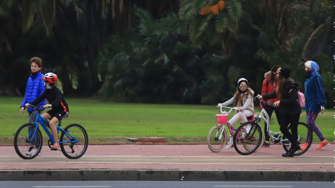 People bike in the Palermo area on the eightieth day of the quarantine ordered by the government.