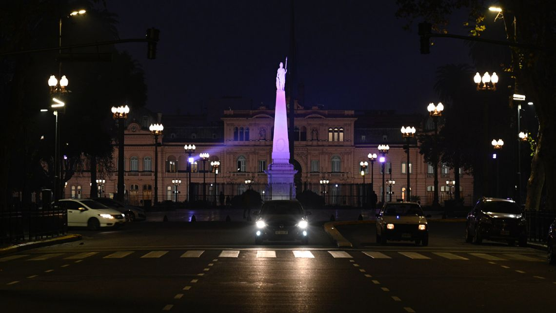 A general view of Casa Rosada governement palace during the lockdown imposed by the government against the spread of the new Coronavirus, COVID-19, in Buenos Aires, on June 9, 2020.