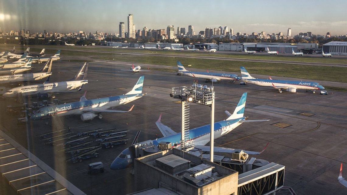 Boeing Co. aircraft, operated by Aerolíneas Argentina SA, stand at Aeroparque Jorge Newbery in Buenos Aires, Argentina, on Monday, May 18, 2020.