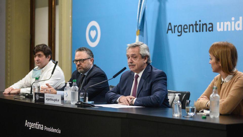 El presidente Alberto Fernández en el  anunció de la intervención de la agroexportadora Vicentin