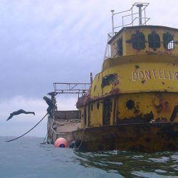 El Don Felix fue el primero de los barcos hundidos en el Parque Submarino Las Grutas.