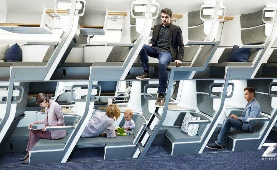 Inspirado en los micros de doble piso que tenemos en nuestro país, el diseñador Jeffrey O'Neill presentó un diseño de asientos para la clase turista de los aviones que se extienden como camas.