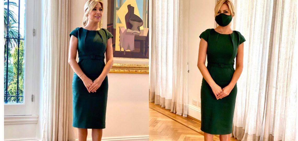 El look de Fabiola Yáñez en verde (con tapaboca incluido)