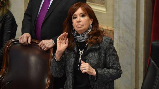 Cristina ayer durante la presentación de Cafiero en el Senado.