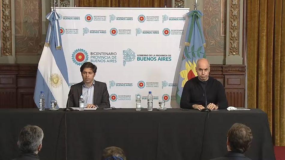 Kicillof y Larreta en conferencia de prensa.