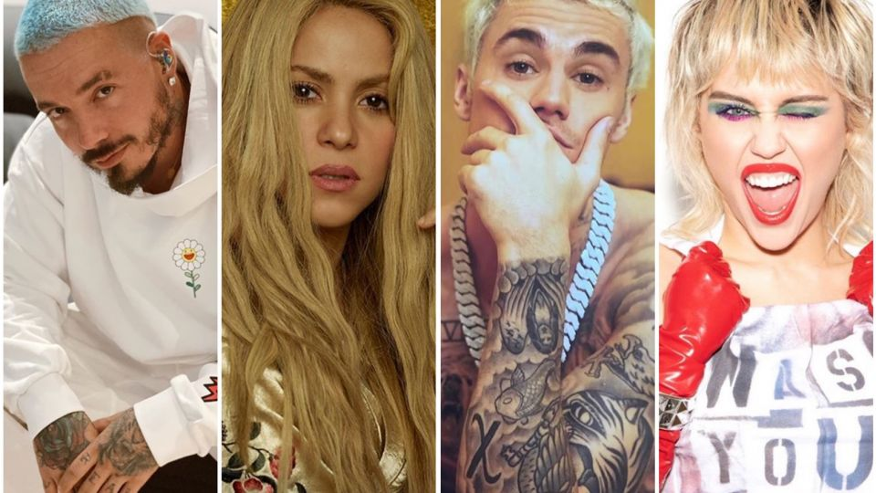 Miley Cirus, J Balvin, Shakira y Justin Bieber
