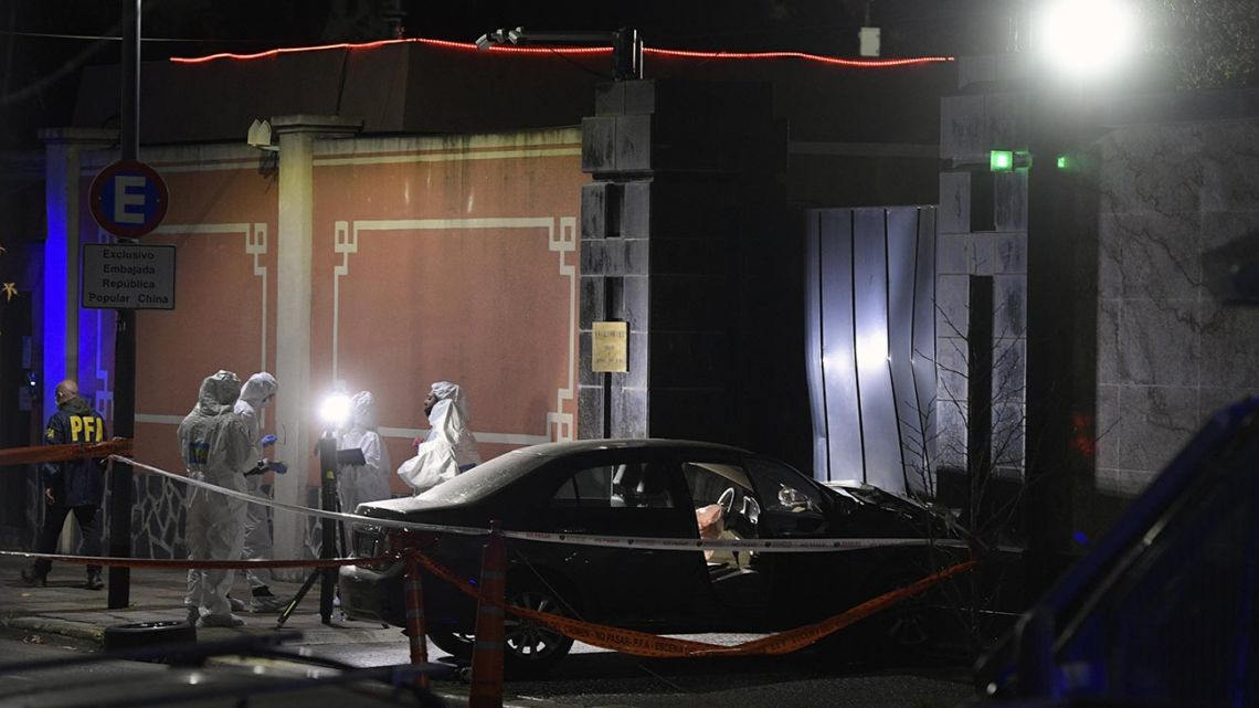 View of  the car which deliberately crashed into the entrance of the Chinese Embassy in Buenos Aires, Argentina, on June 22, 2020, during the lockdown imposed by the government against the spread of the new coronavirus, Covid-19.