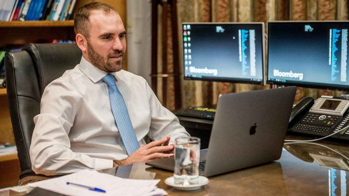 Economy Minister Martín Guzmán taking part in a video conference organised by the Council of the Americas (COA) and the Americas Society (AS), from his office in Buenos Aires, on June 23, 2020.