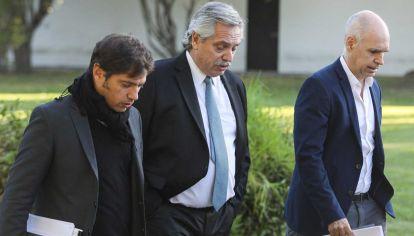 Alberto Fernández, Horacio Rodríguez Larreta y Axel Kicillof