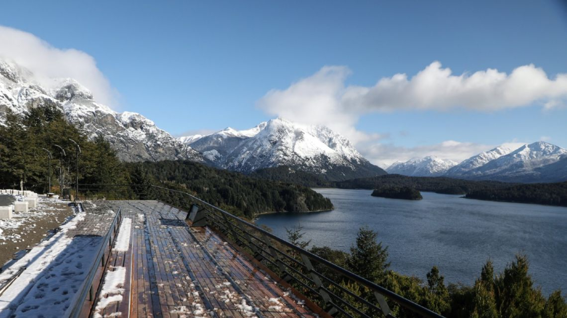 View of Nahuel Huapi lake and the Andes during the lockdown imposed by the government to slow the spread of the Covid-19 coronavirus, in Bariloche, Rio Negro, Argentina, on June 24, 2020.