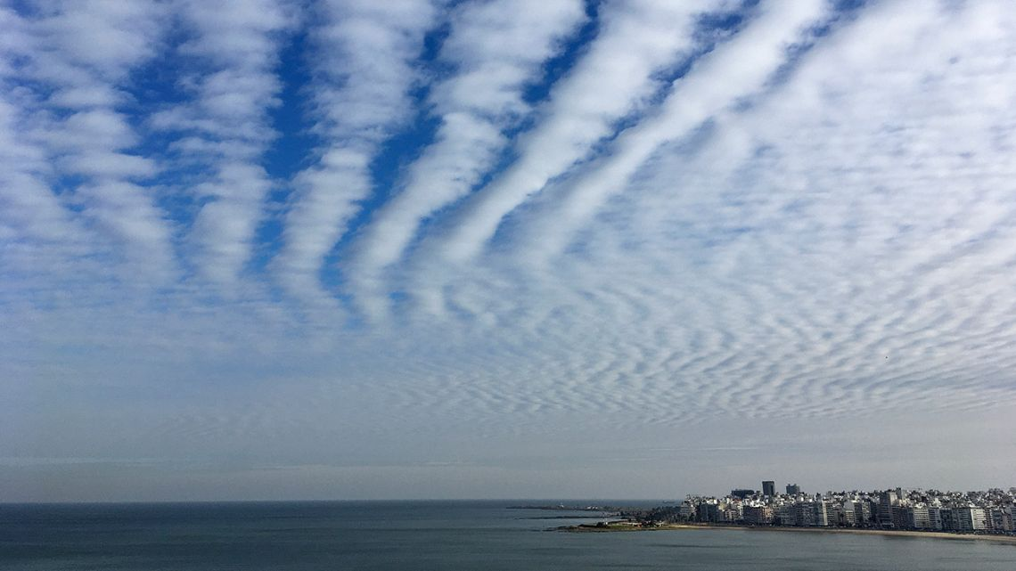 Picture of a cloudy sky over Montevideo taken on May 15, 2020 amid the Covid-19 novel coronavirus pandemic.