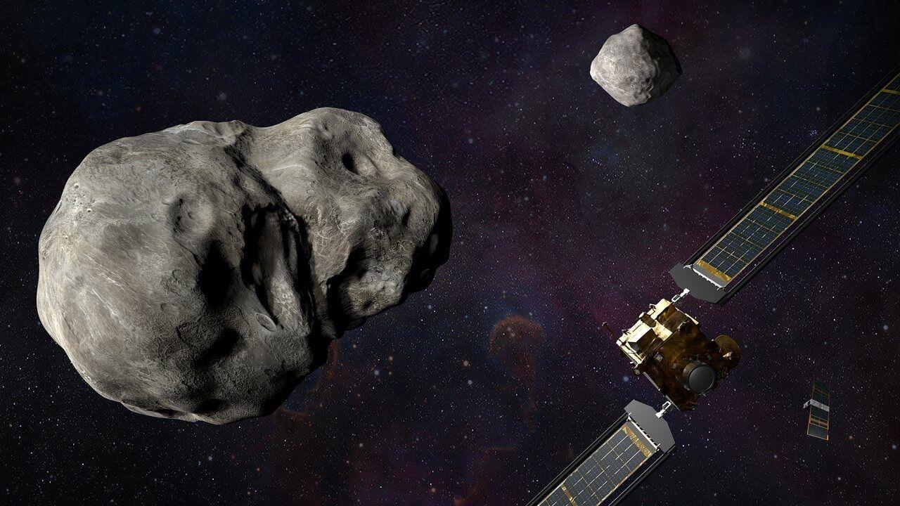 Simulación del asteroide Dimorphos y la nave que lo seguirá.   Foto:NASA