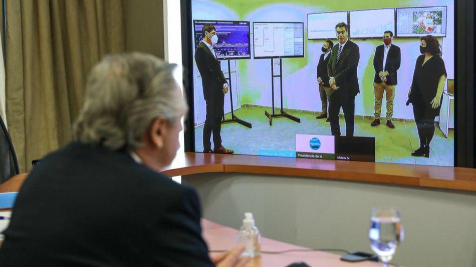 Alberto y Capitanich en reunión virtual.