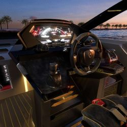 El panel de instrumentos reinterpreta los de Lamborghini al estilo náutico.